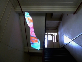 Stairway projection (studio experiment, while work in progress)