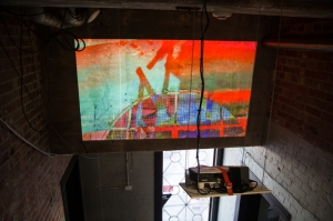 """Linda Loh """"Colour Up, Water Down"""" installation view of projection at The Substation, Newport, Melbourne"""
